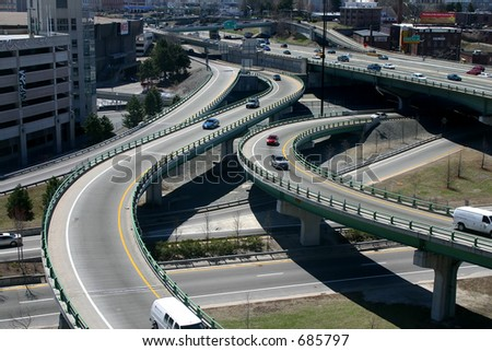 Highway 95 in downtown Providence, RI, USA. - stock photo