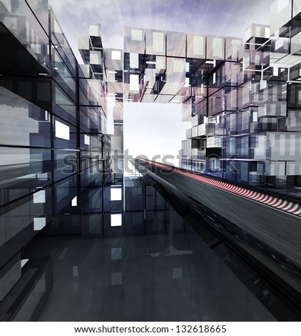 highway in futuristic business city with sky illustration - stock photo