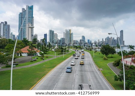 Highway in Panama City with skyscrapers and cloudy sky, Panama, Central America - stock photo