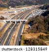 Highway in rurial area of Tokyo, Japan, from aerial view - stock photo