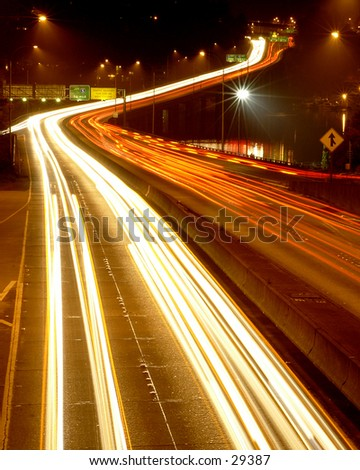 Highway 520 in Seattle at night - stock photo
