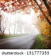 Highway in the autumn forest. Fog. - stock photo
