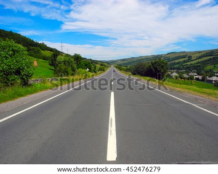 Highway in the rural areas in the Carpathians, Ukraine.