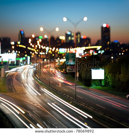 Highway in to the big city at night - central Europe - Prague - stock photo