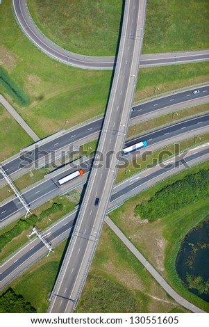 Highway intersection from the air - stock photo