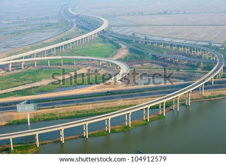 Highway junction, aerial - stock photo