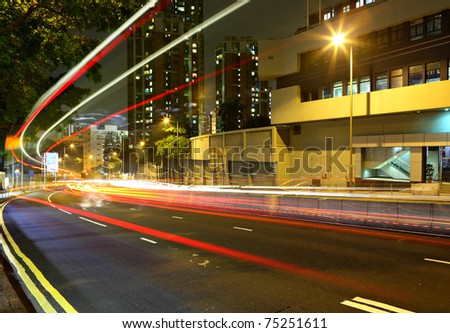 highway light trails - stock photo