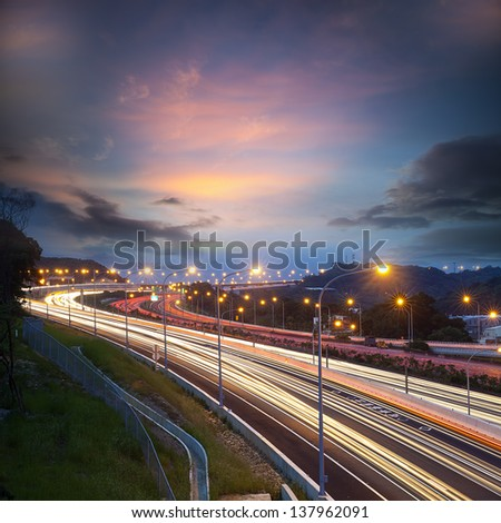 highway light trails for adv or others purpose use - stock photo