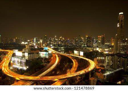 Highway lights at bangkok Thailand - stock photo