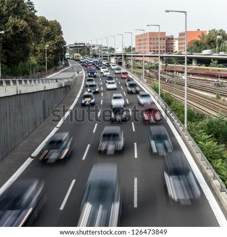 highway near a sbahn station in berlin - stock photo