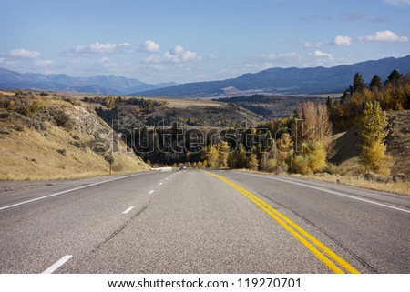 Highway 26 near Swan Valley, Idaho, Bonneville County, Caribou Targhee National Forest - stock photo