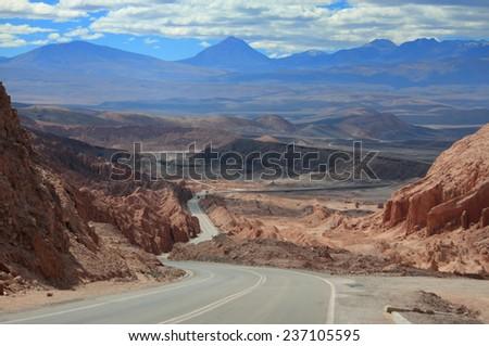 highway near world famous Valley de la Luna in Chile - stock photo