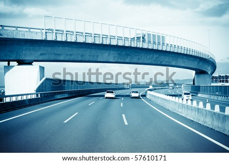 highway of japan, view of a speeding bus. - stock photo