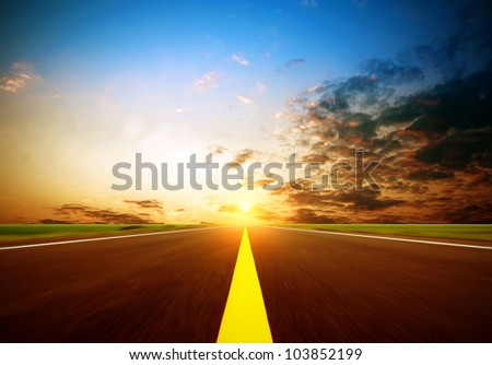 Highway of the evening sky and horizon. - stock photo