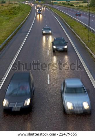 Highway on a rainy night - stock photo