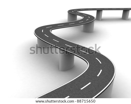 Highway on supports. - stock photo
