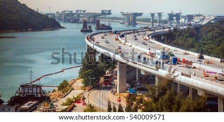 Highway or Expressway overpass under construction at Hong Kong,in sunset time