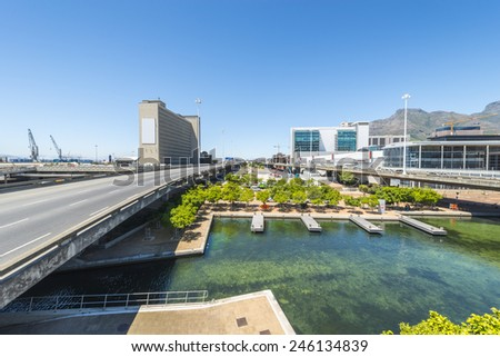Highway or motorway background plate with canal in Cape Town, South Africa - stock photo