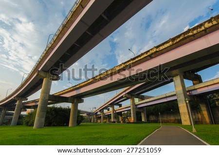 Highway over green meadow in Taipei
