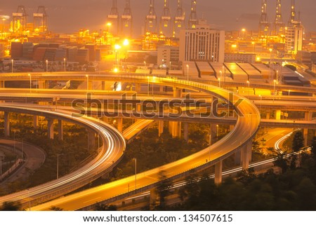 highway overpass at night - stock photo