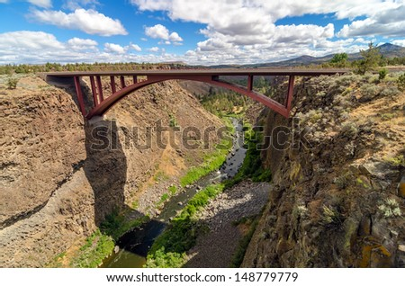 Highway 97 passing over the Crooked River canyon in Central Oregon - stock photo