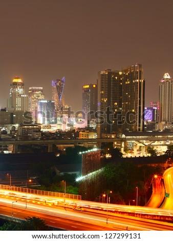 Highway road and skyline. City scene. - stock photo