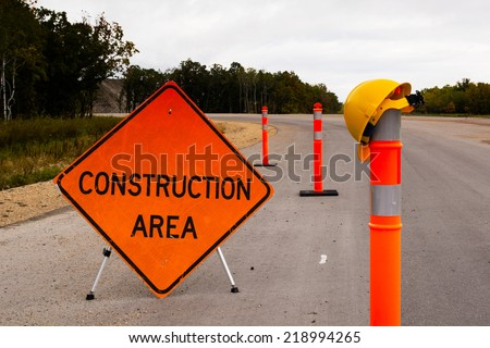 Highway road construction - stock photo