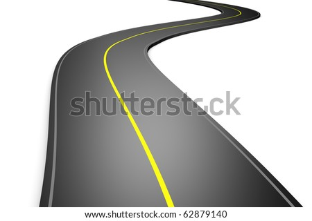highway road 3d on white - stock photo
