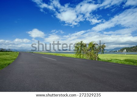 highway road in sunny day - stock photo