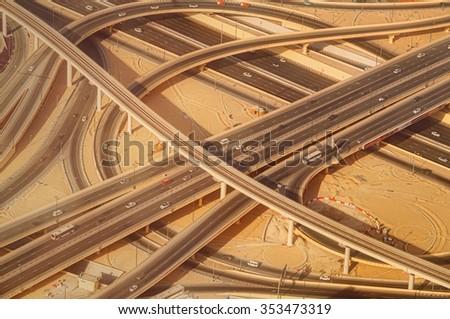 Highway road intersection in Dubai, UAE. Downtown Burj Dubai. - stock photo