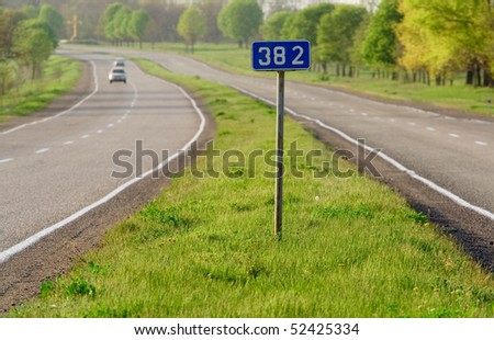 Highway. Road sign. - stock photo