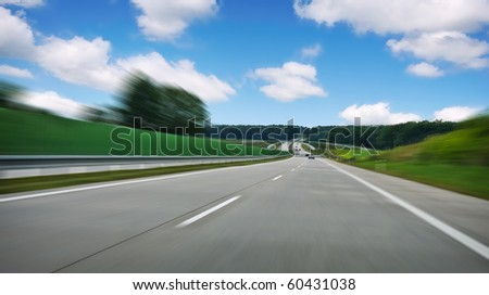 highway road with blur effect - stock photo