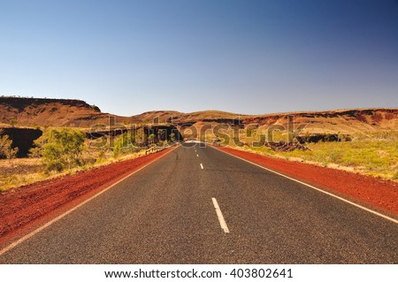 Highway roads near Karijini National Park in Western Australia