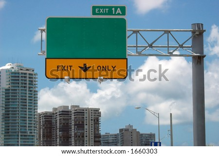 Highway sign - direction and exit sign - stock photo
