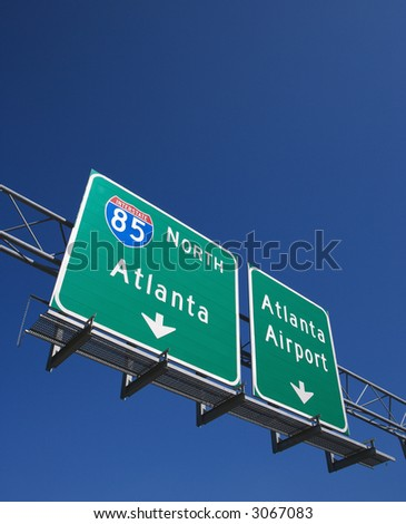 Highway sign for I-85 North to Atlanta, Georgia and the Atlanta Airport. - stock photo