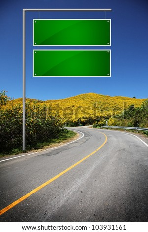 Highway Sign to sunflower hills. - stock photo