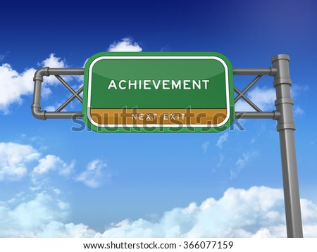 Highway Sign with ACHIEVEMENT Word on Blue sky - High Quality 3D Render - stock photo