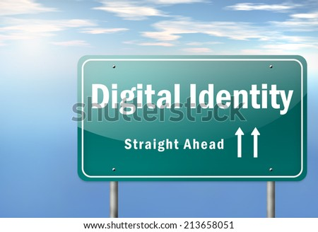 Highway Signpost with Digital Identity wording - stock photo