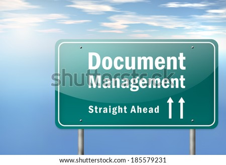 Highway Signpost with Document Management wording - stock photo