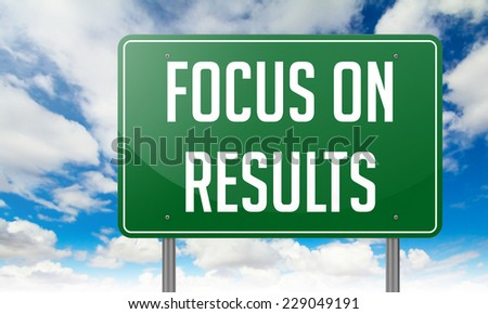 Highway Signpost with Focus on Results wording in Sky Background. - stock photo