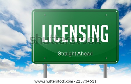 Highway Signpost with Licensing  wording on Sky Background. - stock photo