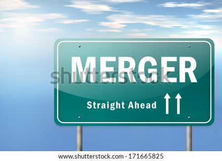 Highway Signpost with Merger wording - stock photo