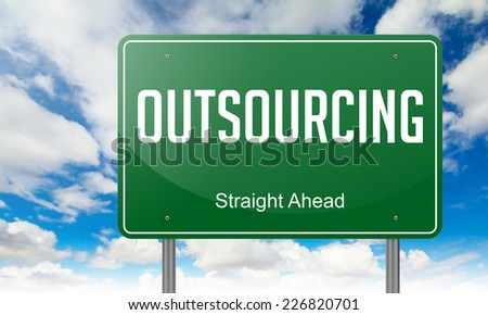 Highway Signpost with Outsourcing wording on Sky Background. - stock photo