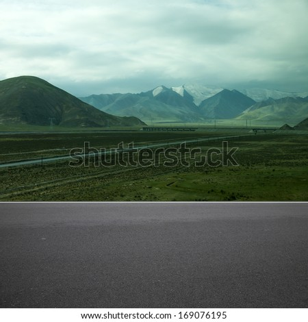 Highway snow tibet - stock photo