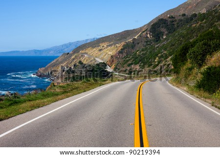 Highway through California Coast - stock photo