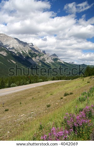 Highway through mountains - stock photo