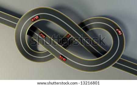 highway tied in a bungle isolated - stock photo