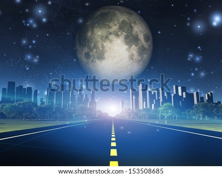 Highway to city and full moon - stock photo