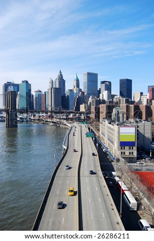 Highway to downtown Manhattan in New York