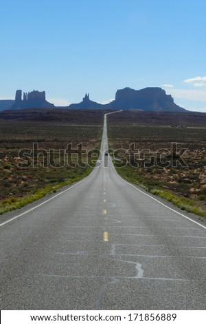 Highway to Monument valley, USA                            - stock photo